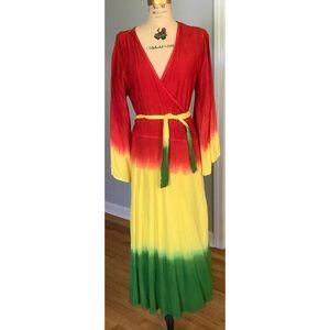 Fashion Terminal Tie Dye Boho Wrap Dress